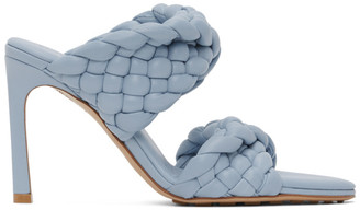 Bottega Veneta Blue Intrecciato Curve Heeled Sandals