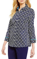 Allison Daley Woven 3/4 Sleeve Y-Neck Printed Blouse