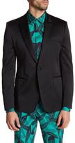 Versace Black Sharkskin Single Button Peak Lapel Trim Fit Blazer