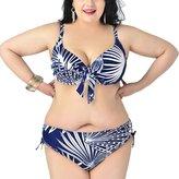 Perfashion Women's Plus Size Two-Pieces Print Push Up Padded Bikini Swimwear