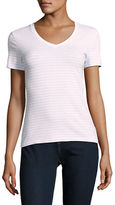 Lord & Taylor Petite Plus Striped Compact Cotton T-Shirt