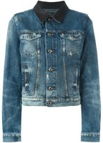 Diesel contrasting collar denim jacket - women - Cotton/Leather/Lyocell - XS