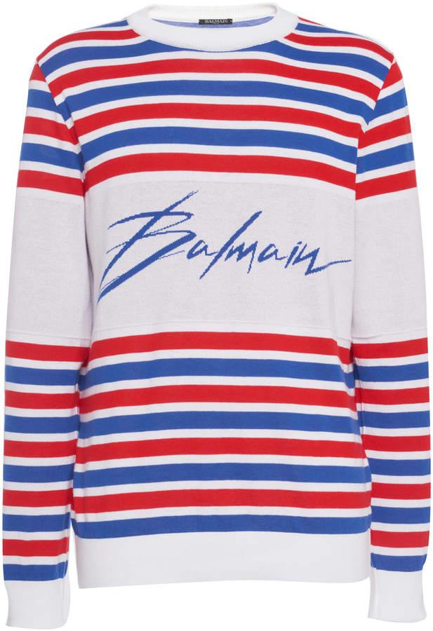 Balmain Logo Striped Intarsia-Knit Sweater