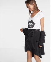 Express High Waisted Wrap Pleated Midi Skirt