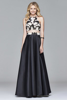 Faviana 7936 Two-piece lace-applique bodice with mikado ball gown skirt