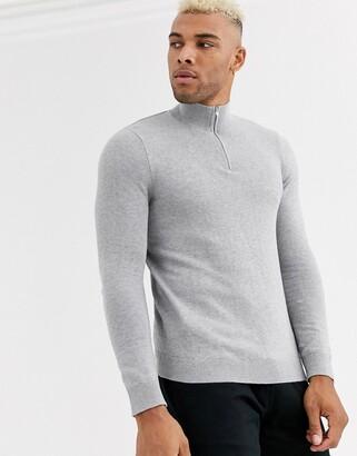 Topman turtle neck half zip jumper in grey