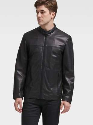 DKNY Men's Leather Racer Jacket - Black - Size S