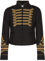 RED Valentino Cropped Embroidered Twill Jacket - Black