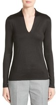 Akris Women's Long Sleeve Silk Jersey Blouse