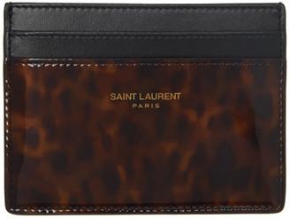 Saint Laurent Tortoiseshell Patent Card Holder