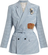 Toga Moire double-breasted silk-blend jacket