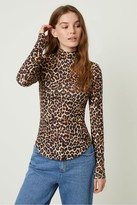 French Connenction Animal Printed High Neck Top