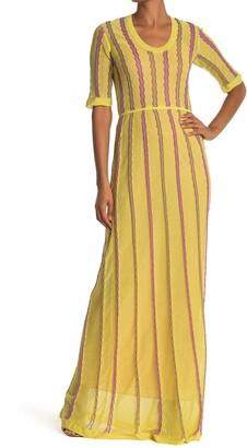M Missoni Stripe Print Scoop Neck Maxi Dress
