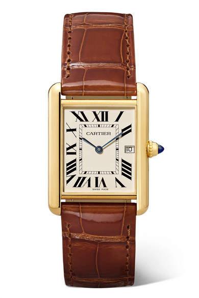 Cartier Tank Louis 25.5mm Large 18-karat Gold And Alligator Watch