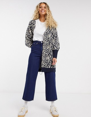 Selected cardigan with oversized zip in animal print