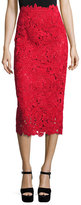Valentino Guipure-Lace A-Line Midi Skirt, Red