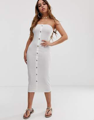 Asos Design DESIGN rib bandeau midi bodycon dress with faux horn buttons-White