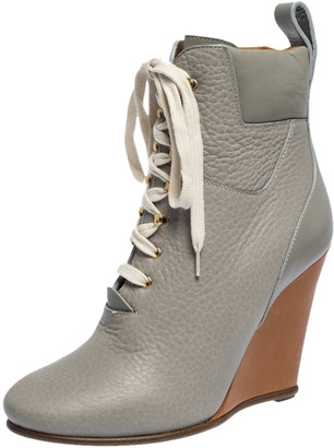 Chloé Grey Leather Lace Up Wedge Ankle Boots Size 37.5