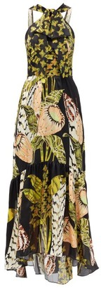 Temperley London Harmony-print Halterneck Silk-chiffon Dress - Black Multi