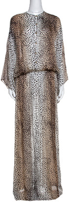 Roberto Cavalli Brown Animal Print Maxi Dress M