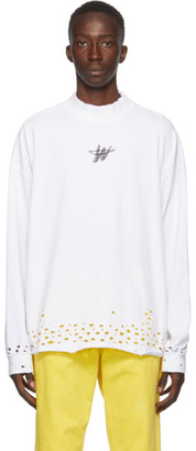 we11done White Distressed WD Logo Long Sleeve T-Shirt