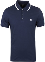 Pretty Green Multistripe Navy Short Sleeve Pique Polo Shirt