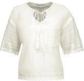 Derek Lam 10 Crosby Crochet Knit-Paneled Cotton-Poplin Top