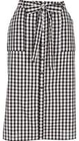 River Island Womens Black gingham button through midi skirt