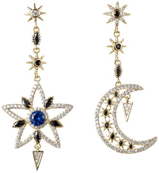 Eye Candy Los Angeles Sun and Moon CZ Crystal Drop Earrings