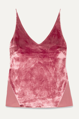 J Brand Lucy Velvet And Chiffon Camisole - Pink