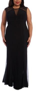 R & M Richards Plus Size Mesh-Detail Gown