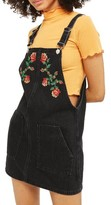 Topshop Women's Embroidered Denim Pinafore