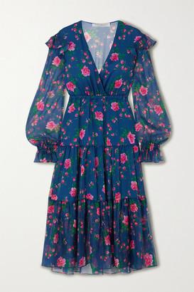 Philosophy di Lorenzo Serafini Ruffled Tiered Floral-print Chiffon Midi Dress - Blue