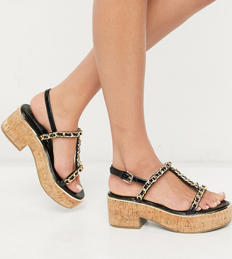 ASOS DESIGN Wide Fit Welcoming chain detail flatform in black