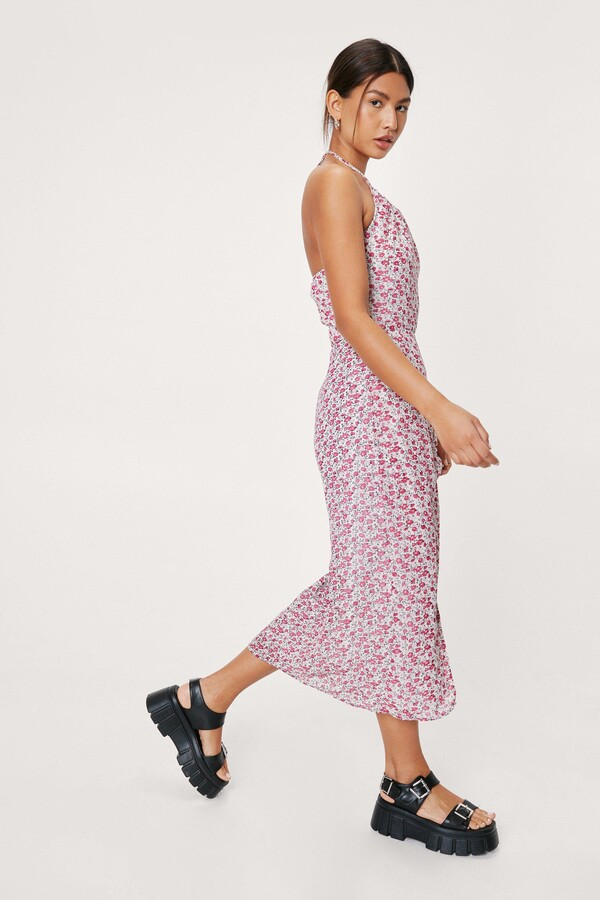 Thumbnail for your product : Nasty Gal Womens Floral Midi Slit Halter Dress - White - 6
