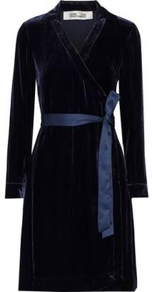Diane von Furstenberg Tanya Satin-trimmed Velvet Mini Wrap Dress