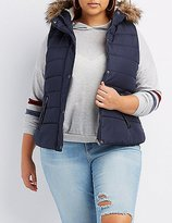 Charlotte Russe Plus Size Faux Fur-Trim Hooded Puffer Vest