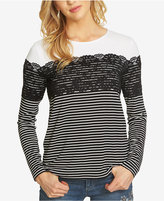 CeCe Striped Lace Top