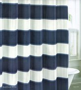 Nautica Wide Stripes Blue White Navy Blue Fabric Shower Curtain 100% Cotton