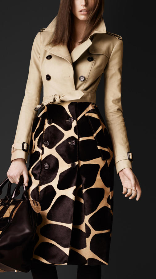 Burberry Contrast Animal Print Trench Coat