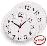 White Wall Clock - Quality Quartz Battery Operated 10 Inch Round Easy to Read Home/Office/School Clock, Pack of 2 - Bernhard ProductsTM