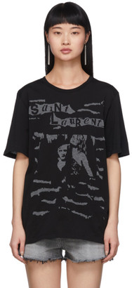 Saint Laurent Black Jacquard Graphic T-Shirt