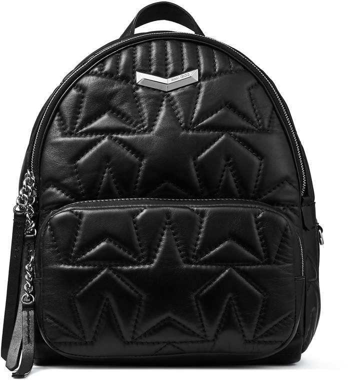 Jimmy Choo HELIA BACKPACK Black Embossed Star Matelasse Nappa Leather Backpack