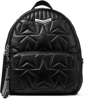 Jimmy Choo HELIA BACKPACK Black Embossed Star Matelasse Nappa Leather Backpack