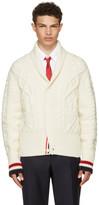 Thom Browne White Aran Cable Shawl Collar Cardigan