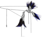 Lanvin Silver-tone, Feather And Crystal Chain Belt - Gunmetal