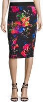 Milly Floral-Print Midi Pencil Skirt, Multi