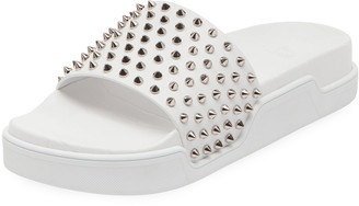 Christian Louboutin Men's Spiked Leather Pool Slides