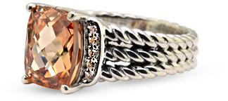 David Yurman Petite Wheaton Ring (Morganite and Diamonds) - Size 6.5