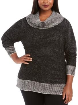 Belldini Plus Size Metallic-Threaded Button-Trim Sweater